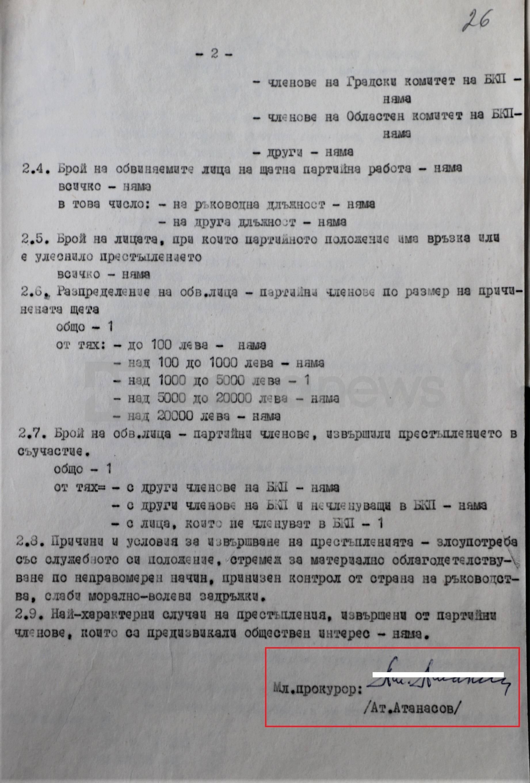 Атанасов е толкова доверено лице, че му  е поверено да разследва местни висши номенклатурчици от Обл.комитет на БКП-Разград`