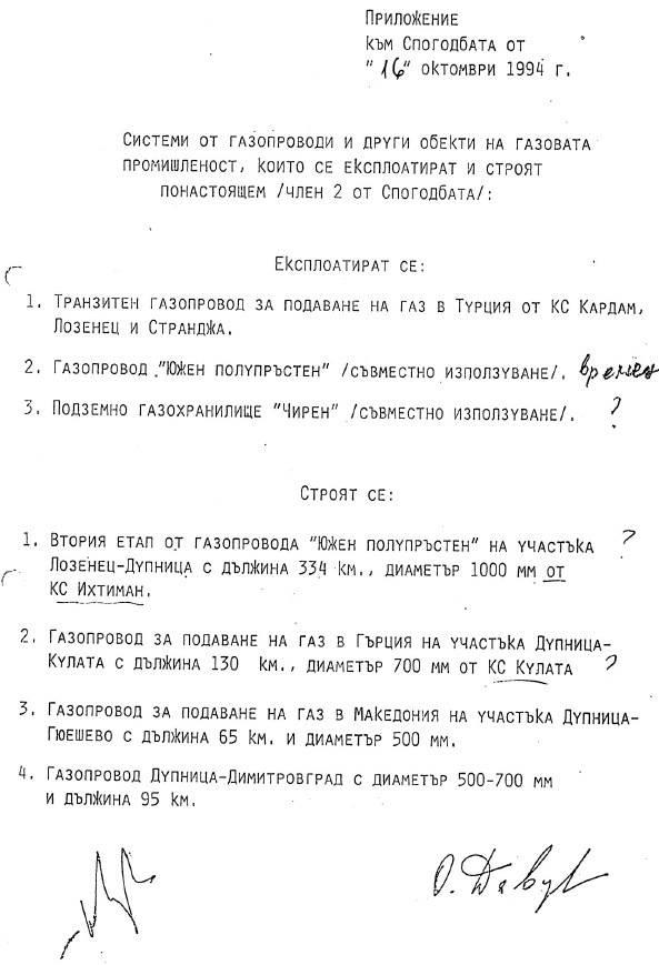 Спогодата за газта между правителството на Беров и Русия, 16 октомври 1994 г. `