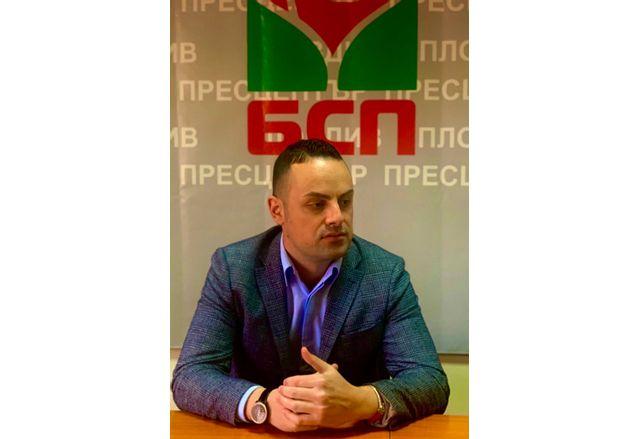 Захари Христов като кандидат-депутат от БСП в Пловдив област на последните парламентарни избори