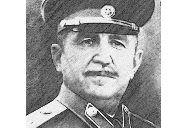 Колаж на Радев като Сталин