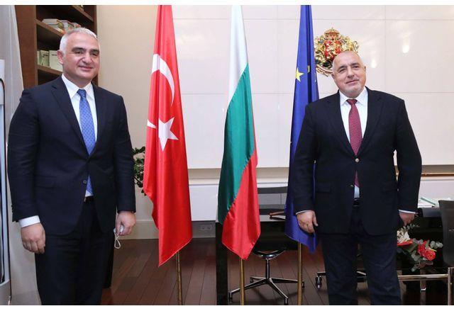 Министър-председателят Бойко Борисов по време на срещата си с министъра на културата и туризма на Турция Мехмет Ерсой