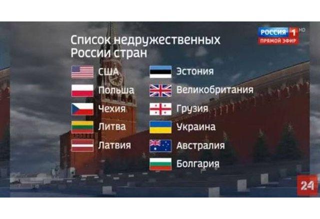 Списъкът с враждебните на Русия държави