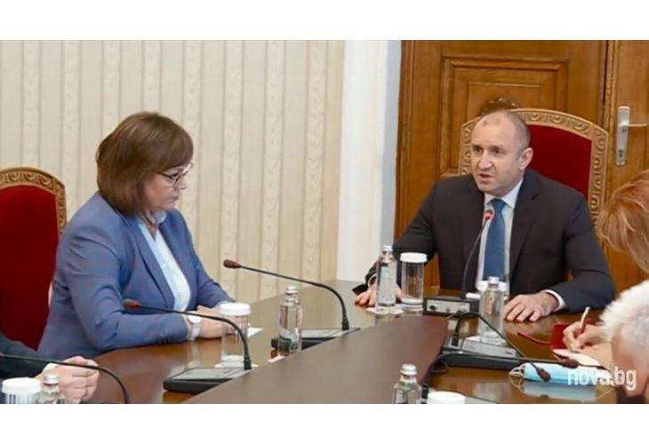 Корнелия Нинова на консултациите при Радев
